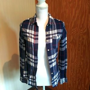 Navy & White Flannel Shirt With Pocket